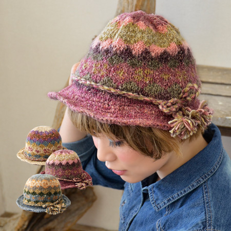 Natural Hat woven with colorful and gentle texture hemp mixed wool materials! Soft knit and well round apparently girls form a Ribbon tied Tulip Hat! /HAT / Hat / hair /HEMP ◆ チョウルヘンプウール knit hat