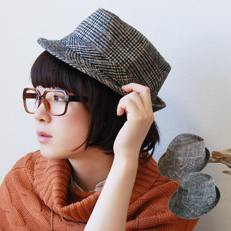 """Even highly recommended at this season of the """"nostalgic"""" for Middle! Glen check pattern HAT Uncle-style code must be! NEP feeling plenty of fabric day! lump 中おれ Hat makes you feel winter ◆ Glen check Tweed Hat"""