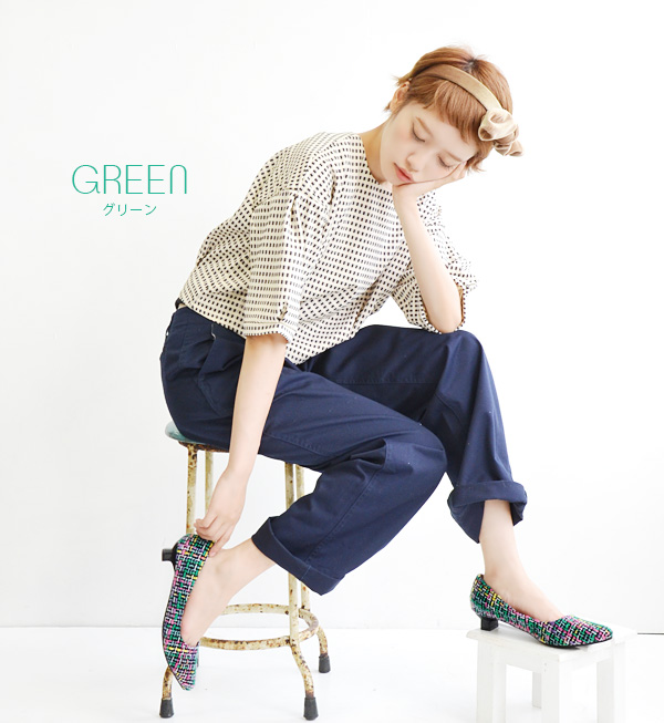 Of the tweed material which adds impact and 彩 to the step is sharp; toe pumps. The low heel pumps which create a delicate line in the fall and winter! Opera pump Lady's shoes office ◆ zootie (zoo tea): Tweed pumps [pointed toe]