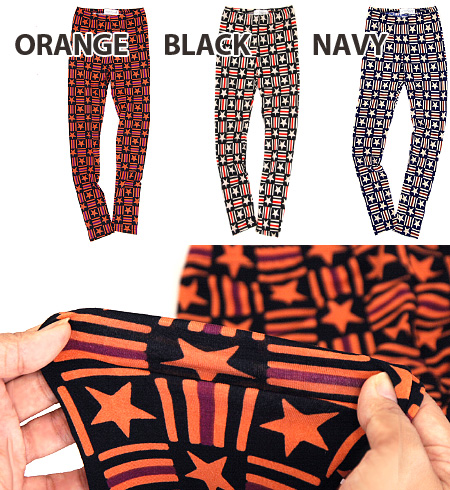 I am impacted by a step! Well-controlled nostalgic color and 360-degree whole pattern design ◎ /10 share length / enough length / full-length ◆ zootie (zoo tea) to be able to enjoy: Star X stripe block leggings