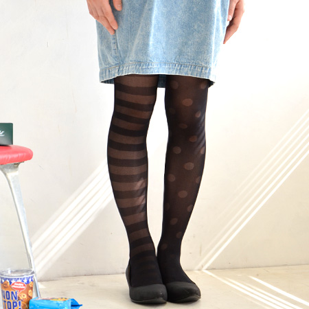 Border pattern & dot pattern and personality school tights! Thin denier of a stocking, heels no type size free ◎ / polka dot pattern and legwear and pantyhose / socks / socks ◆ シースルーア symmetry tights [border x dots]