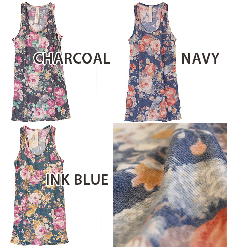 Large floral painting delicate. It's not sweet adult general tank. もたつかない cm long, so thin silhouette clean layering STYLE come true! / flower pattern / inner / ladies ◆ Zootie ( ズーティー ): クラシカルローズロング tank top
