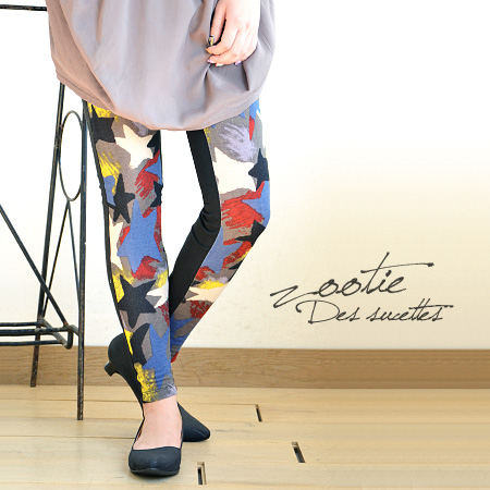 Pop star pattern depicting the paint style フルレングススパッツ! Scratched paint places seen in the star shape and size are random design Cool ♪ length-10 minutes length and enough ◆ Zootie ( ズーティー ): フロントハスキースターレギンス