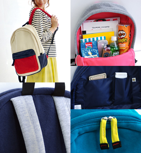 The sweat shirt day pack of crazy color & by color. Stylish rucksack mail order Rakuten ◆ anello (アネロ) which magazine A4 commuting attending school man and woman combined use unisex bag BAG combination color two ton Lady's has a cute: Color block swe