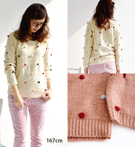 The knitwear which is POP in CUTE where a colorful bonbon was displayed. It is a mohair touch knit sweater long sleeves pullover / crew neck / Lady's ◆ Kalla using the mohair-like knit with full of a feeling of raising that is hard to be prickly fully pl