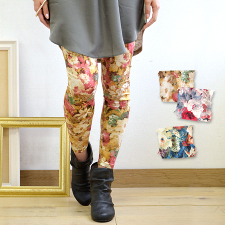 The full-length spats which are the lady that large waste flowers were drawn on the entire surface like a picture. A cut-and-sew material thin lightly which is usable in all seasons. It is hard to be worried about the growth of the pattern! / legware / f