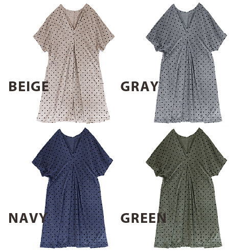 Technology creates a soft drape and tuck into the dot pattern チュニックワンピ. Sewn of soft material long season a big success! / Long sleeve / polka dot pattern / knee-length and knee-length ◆ flocking dot V ネックタックドレープワン piece