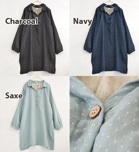 Polka-dot pattern pullover shirt soft cotton fabrics and loose silhouette friendly atmosphere. Cotton gauze, 2 taping natural welding result W gauze material and sleeved ◆ ピンドットダブルガーゼヘンリーネックシャツワン piece
