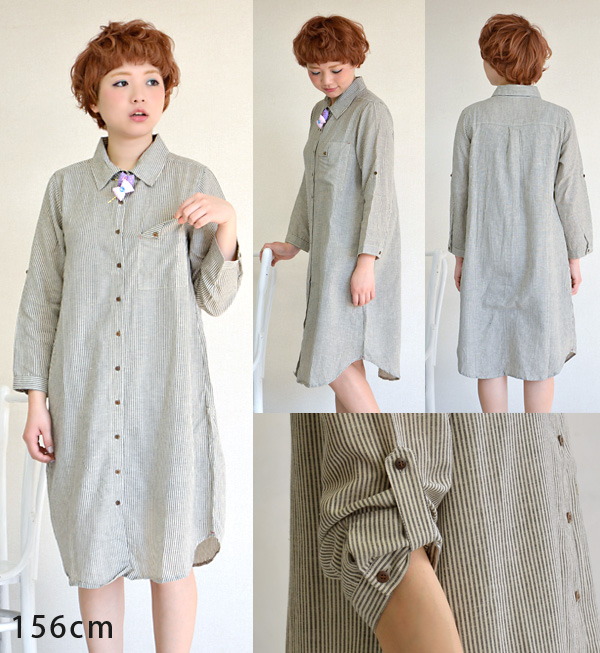 In the spring and summer stripe pattern long sleeve shirt made of hemp mixed material. Full body relaxation silhouette! / Long Sleeve / Women's / linens / knee / knee-length and spring long dress. ◆ naturalstriperongshatswan piece