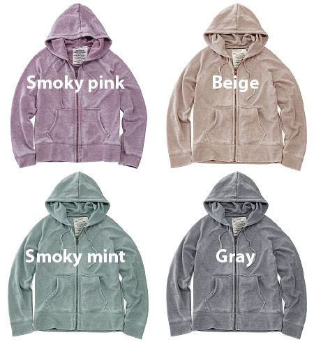 The long sleeves ZIP parka that a feeling of uneven coloring of the opal processing full of a feeling of ユーズド is stylish. ◎ / Lady's / haori / plain fabric ◆ opal gauze sweat shirt zip up Parker stylish to a basic silhouette the detail such as cutting, t