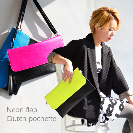 The mini-shoulder bag of the two-tone color that the neon color of the flap attracts an eye. Hang / slant at the clearly square model fake leather bag / bag / bias that there is not of the strap gusset which there was which a clutch bag can play; ◆ by co