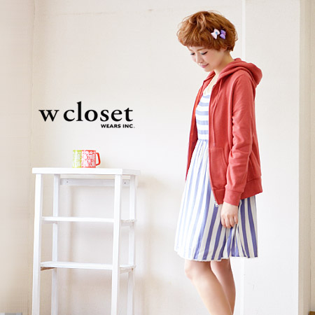 Bias switch a refreshing color of pale border pattern タンクトップチュニック. Soft light fabric a-line! / spring dress with lining ◆ w closet ( ダブルクローゼット ): wide striped waist dress switching