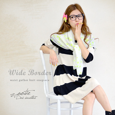 West drew gather in the fluffy! and girly silhouette skirt spread 3/4 sleeves mini dress. Casual SWEET a border pattern of large pitch come true in one piece dress ♪ ◆ Zootie ( ズーティー ): ワイドボーダーウエストギャザーニットワン piece