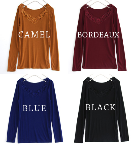 Chest, more sweet. ロングセラーインナー decorate the decollete tiara of lace long sleeve T shirts Ver... プチプライス recommended, different colors! / Solid / Ron Tee / basic / ladies ' ◆ ティアラレースカットソー [long sleeve]