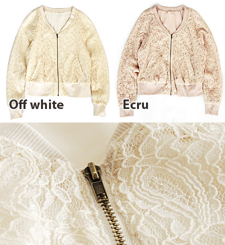 Sweet ジップアップアウター made in lace. Cm good balance of wear of short, compact design / ladies / thin / no color / sleeved ◆ w closet ( ダブルクローゼット ): Paisley lace × ジョーゼットシフォン short blouson