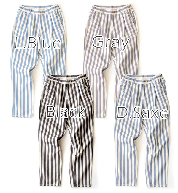 The refreshing stripes Yul! and deformation pants and loose a rough sense of chic. Good enough to use all seasons Hari & thick cotton material! / Women's / stripes ◆ w closet ( ダブルクローゼット ): ストライプコットンツイルテーパード pants