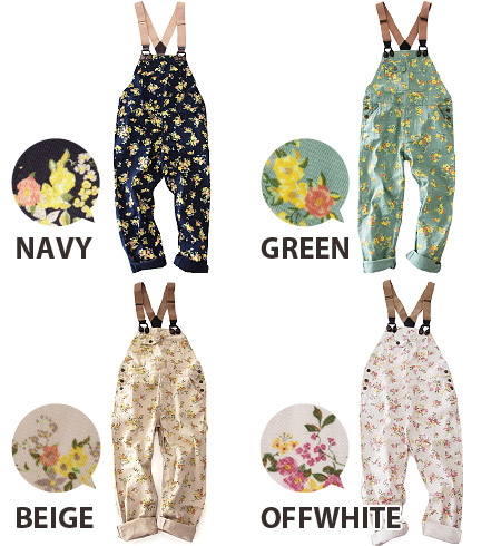 Can be used all season was painted with paint print sweet floral cotton twill material salopette. ユルめ of silhouette and the other is no color development ◎ / combinaison ◆ rivet and surge ( rivet & surge ): スプリングローズブッシュドツイル overalls