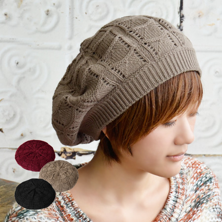 Seems like a flower crochet scalloped girls knit beret style. Sweet soft woven to knit in rib switching mouth covering pleasant wearing comfort • / / color / knit hat / NetWatch Hat ◆ scalp border knit beret
