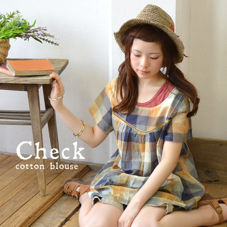 Check smock blouse drew the gathers. Cover for the soft waist silhouette and waist size: light, cool India cotton material used and short-sleeved pullover ◆ ナチュラルチェックコットンギャザーチュニック blouse