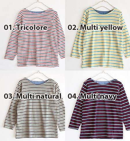 It is refreshing like a basque and is absolutely light! The horizontal stripe eight minutes sleeve T-shirt of the thin cut-and-sew material. One piece of Ron Tee Basque shirt-like stylish inner tops ◆ circle Thibault da boat neck bracelet-length sleeves