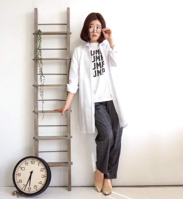 A long shirt white shirt-dress. A feeling of firm cloth ◎ Lady's tops long sleeves long shirt plain fabric Shin pull Oxford shirt ◆ zootie (zoo tea): Oxford white long shirt