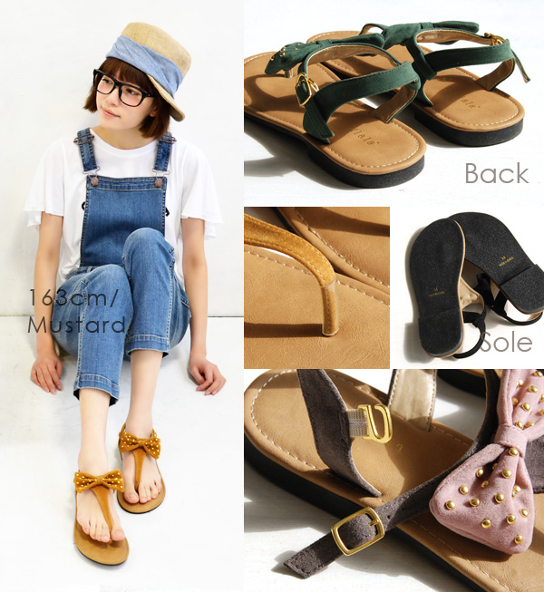 T strap Sandals studded with round and soft material and 3 stages of belt has an adjustable ankle strap and 1 cm low heel / ladies / women's shoes / color / solid ◆ ドットスタッズ T ストラップトング sandals