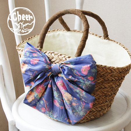 The sea glass basket bag of the design which is the girly that big floral design ribbon gives glory to the center! Inner cloth, the ♪ handle with the inside pocket real leather leather / nature material / basket / bag / bag / bag /BAG/ handbag /fs3gm ◆ c