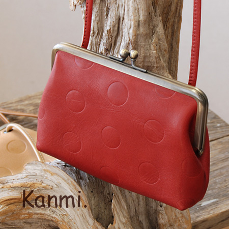 Coin purse Pochette like Polka-dot pattern was great press, adorable House! Coin purse hanging from his neck, and as digital camera case • ladies / / leather pouch and a wallet / pouch / leather / real leather accessories ◆ kanmi.( Cammy ): candy みずたま レザ