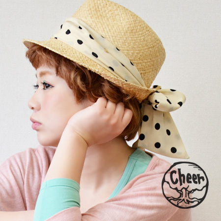 Of light raffia hat. Big Ribbon tied behind the cute back view complete! And women's /HAT / straw hat style polka / Tan awnings ◆ cheer ( cheer ): merry-go-round charm with ドットスカーフリボンラフィア Hat