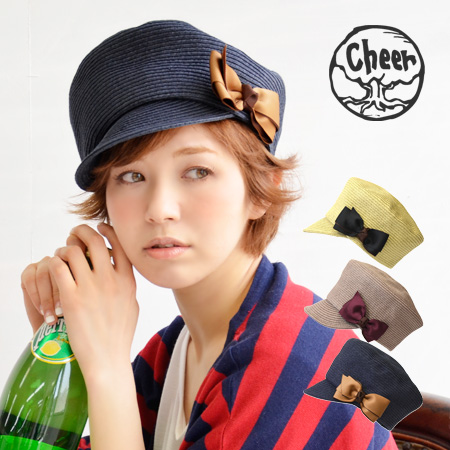 Pulp material supple blade Cap. Plump perches and decorated with two colored grosgrain Ribbon ladies CAP and straw hat style, style straw hat /Hat / Cap with a brim Hat ◆ cheer ( cheer ): アンダリコロルリボンパルプキャス gasket