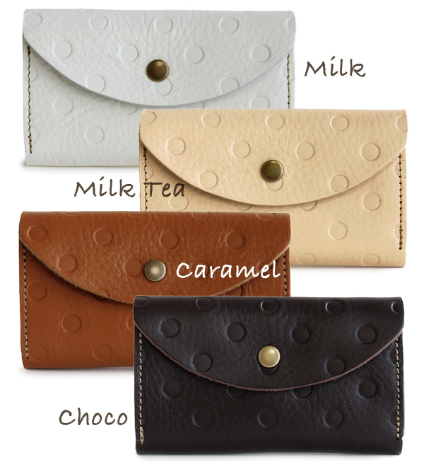 It is recommended to a card case and a chip card pass case! Product made in cowhide card case / Japan / rial leather accessory / key case / mini porch /IC pass holder / dot handle of ◆ kanmi. (Kanmi) of the casual snap button opening and shutting that ga