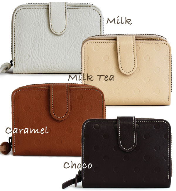 Coin of slit out of Bill, also available! Nonchalant みずたま type press with two bi-fold wallet. Zip around opening and closing coin purse & snap open your wallet / ladies ' leather ladies ' ◆ kanmi.( Cammy ): ポルカドットレザーショートウォレット
