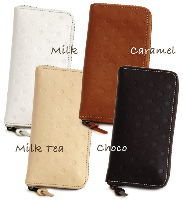Zip around opening and closing type subjected to embossed nonchalant みずたま wallet. Open the large accordion type out smooth! And for women and a wallet / leather / genuine leather real leather accessory / ladies ◆ kanmi.( Cammy ): ポルカドットレザーロングウォレット
