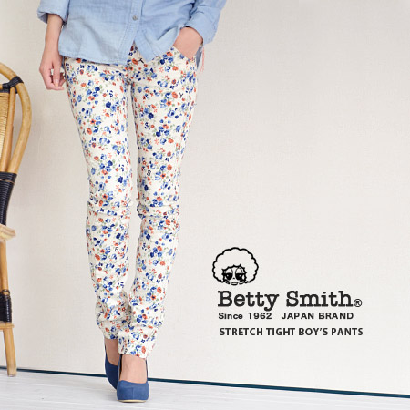 Alphabet 'B.E.T.T.Y' MIX in slightly shiny floral print fabric saryu leaner shorts / tight /Ladies/BAW1027H ◆ Betty Smith Betty ( Smith ): ランダムベティフラワーサテンツイルスキニー pants
