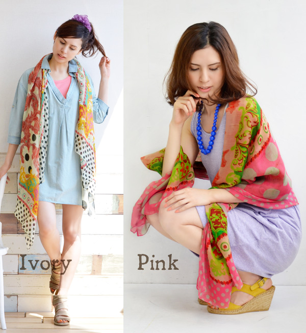 The large floral design that is colorful to a small dot to a large dot! Vivid coloration is a large size light stall of the leading role grade. Ultraviolet rays measures UV measures Lady's cute stylish fashion mail order Rakuten ◆ exotic flower X dot lar