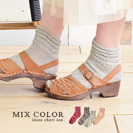 Like ruffled up and on ankles that sagged like a rippling design ankle socks. Can be used in the summer and lightweight knit material and Lady socks / footwear / women's / footwear / ankle length ◆ slab MIX knitted rumpled shorts socks