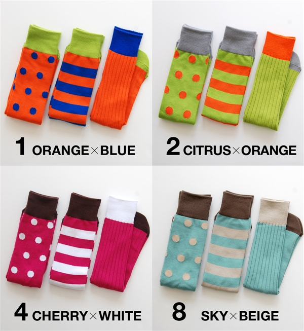 It is all four colors [during up to 15% of OFF coupon distribution to be usable to all articles]! A dot pattern, horizontal stripes, the entering of the plain rib in total three sets! It is colorful, and a pop color design gives off person presence by fa