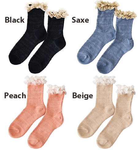 Fluffy tulle lace frill attached to mouth pattern knitting socks. Kush boobs and wearing short, wear in the middle-length cute! / women's socks / footwear / ladies ' ◆ turf rel links short socks