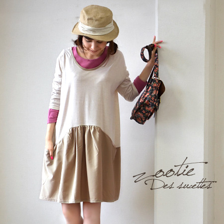 Top is cotton. Skirt is a classy cloth material. Switched between in the lowest position draw the arch super cute three-quarter sleeves one-piece! 7 minutes sleeves / transformation / color / knee-◆ Zootie ( ズーティー ): bicolor West arch switching ドロップショルダー