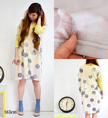 Deformation design I love it also convinced cheated was and feeling! Dot pattern prints faded soft transparent plenty of dough, topped with deformation ドルマンスリーブチュニックワンピ / knee-length and knee-length and short sleeve women ◆ BIG ドットスタンプガーゼカットソーワン piece