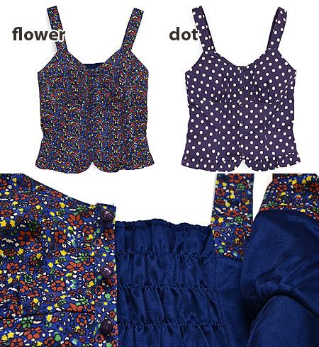 Sweet design decorated with ruffled hem, corset type over camisoles. Love 2 design pattern & flower polka dot girls ◆ w closet (doubleklosett): cottentwilbiscecamisole