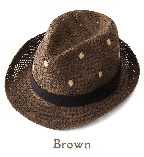 Classy design, embroidered overall polka-dot pattern of rough paper hat. A comfortable fit and cool in hot season! And straw hat style / women's / dot / Tan awnings みずたま ◆ ドットステッチ Hat