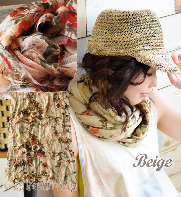A light stall with a sense of the seasons and femininity to coordinates. The stylish fashion mail order Rakuten ◆ palace flower rayon gauze stall that has a cute ◎ rolled draperyware accessory Lady's for UV, ultraviolet rays measures and heat and cold me