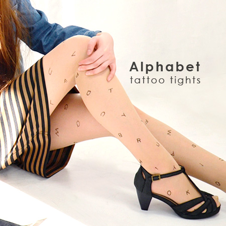 Tattoo tights studded small alphabet in all aspects. While showing as bare feet plus pattern on coordination / Roman alphabet and legwear and pantyhose / pantyhose / initials /TATOO ◆ アルファベットタトゥーストッキング