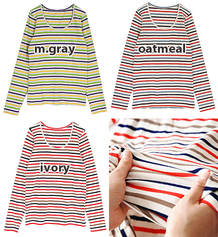 To cotton fraise cut-and-sew full of elasticity, series first horizontal stripes come up! Ron Tee/ Lady's ◆ zootie (zoo tea) which is usable in an out in the in of the bright color: French circle Thibault da cut-and-sew [long sleeves]