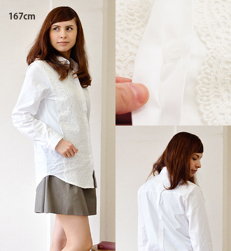 The lady's long shot shirt which repeated a race to have some coolness. A feeling of collar cause and cloth which I assumed パリッ lengthens refined ◎ and is easy to use length! / blouse / long sleeves / white shirt tunic ◆ etude (etude): Ivy race front shi
