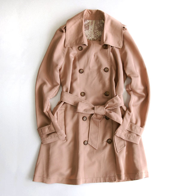Tender spring colors, spring, material wear lighter spring spring coat. Adult authentic detail casual wear such as long shots: fabric waist Ribbon with / women's / thin / ライトアウター / sleeved ◆ v-neck レーヨンツイルト trench coat