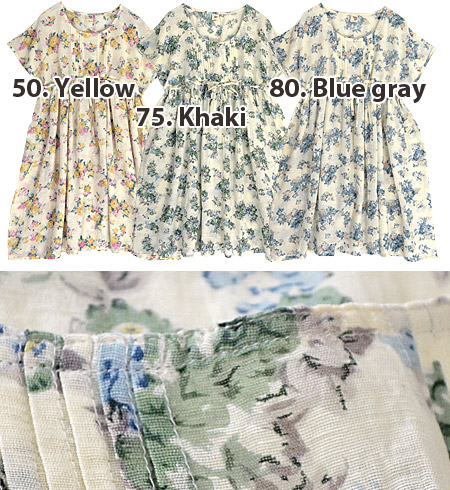 Season flower dress, girls look good in spring. Relaxed Dolman sleeve, chest below the switch & narrow silhouette in the Ribbon tied, can be arranged! women ◆ フラワーコットンリネンドローストリングワン piece