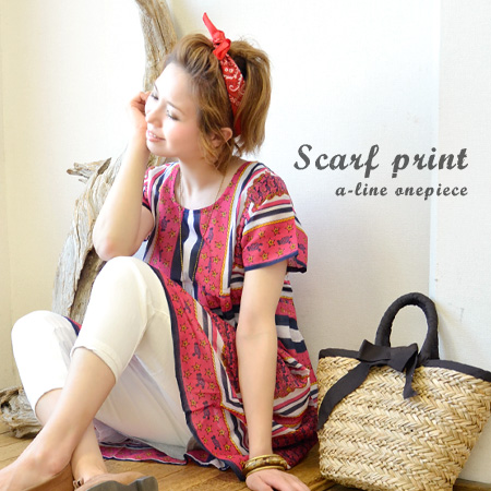 The chest bottom change short sleeves short length Mini One peace mini dress fashion tunic dress ◆ scarf panel print India cotton gathers dress that a tunic dress of the individual Indian cotton gauze which seemed to connect scarves opens gently