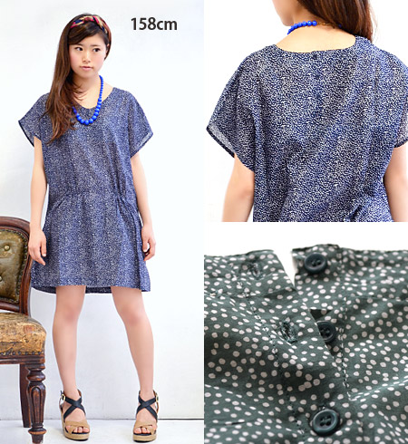 Cool dress India cotton material. Short sleeves that can be worn comfortably gauge Dolman sleeve looks neat four gathering points ◎ / transformation / dot pattern cotton ◆ ランダムドットコットンウエストギャザードルマンワン piece